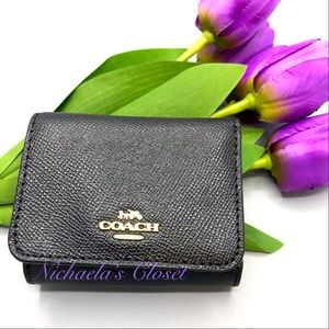 Coach small compact trifold wallet black